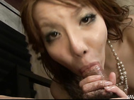 Not only is this guy lucky enough to simply see MILF Yuna Hirose in her white stockings touching herself in front of him, she oils herself up so she can suck him off and tit fuck him too! What lottery did he win that he gets to cum all over her big tits?.