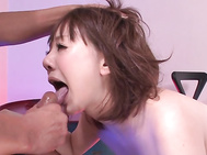 Watch her engulfing both dicks in serious ways while moaning and gagging, gently wetting them and getting them ready for her cramped pussy and warm butt hole.