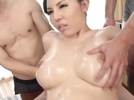 Lusty doll with perfect Asian tits sure likes to play nasty, letting these guys to slide their toys all over her puffy cunt and ass in a steamy threesome oral adventure.