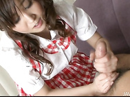 She has on her white and red checked cosplay outfit on when she grabs her guys dick and begins to give him a wet and sloppy blowjob.