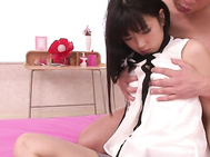 Satomi Ichihara's hairy asian vagina must be super tight, because there's no way this guy could even pull out of her as he's fucking her.