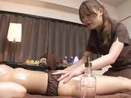 Touching and slowly finger fucking her client's puffy twat made them both to feel aroused and needy for a short adventure during their massage encounter.