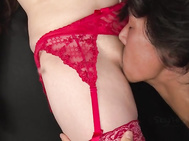 Lovely Japanese milf in red lingerie, Reika Ichinose, seems more than happy to have such strong dick pounding her shaved pussy in a real hardcore porn show on cam.