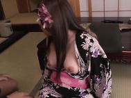 Curvy ass Japan model, Rino Sakuragi, is close to having her cramped pussy nailed right but not before sucking on this guy's fat dong like a true princess.