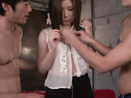 Adorable, Saya Fujiwara, is a pretty hot Japanese lady with sexy nude forms and tight holes, ready to deal these guys dicks in a serious Asian threesome porn show.