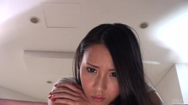 Bent over, prone and ready for some fun, we get a great view of Ren Azumi's face as she reacts to whatever her friend puts inside of her shaved japanese pussy.
