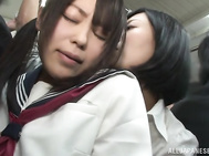 Check out this hot couple of lesbians as they ride the bus home! Uta Kohaku and Karen Hazuki are into public lesbian sex