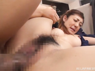 Even when she is at work, she enjoys getting into some group sex!