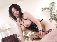 Naughty Japanese AV model is a horny milf getting into this female domination in cosplay!
