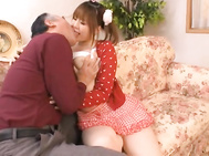 She has a short skirt on and shows plenty of upskirt shots whi9le kissing her guy.