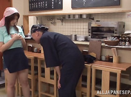 Gorgeous Japanese tavern clerk Rina Araki entrances her male colleague in a kitchen with her astonishing huge boobs, and the horny guy is always ready to play with her goodies.