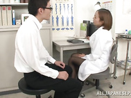 Busty Asian nurse in black stockings Ruri Saijoh gets cum on tits.