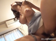 The excited guy kisses her precious bubbles and then opens her pussy, inserting his impressive cock deep inside her wet vagina and bangs the hot angel really hard.