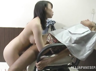 The amazed guy makes very arousing titty fucking and bursts out with cumshot on her lovely tits.
