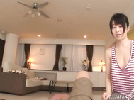 Glorious Japanese amateur Arisa Misato gives her lover some sex massage, and places his cock between her juicy jugs.