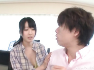 Playful hottie Arisa Misato shows off her tits and pussy.
