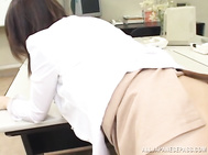 Lady in glasses is very hot and the guy directly approaches for her tits and gropes them before playing with her hairy pussy.