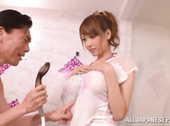 Busty sex doll Shion Utsunomiya gets oiled and nailed in a bathroom.
