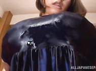 Milf with big tits Ruri Saijoh gets pounded hard.