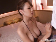 Asian hottie with big boobs Shion Utsunomiya bounces on massive cock.