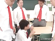Lascivious Asian teacher Arisa Misato fucked by horny students.