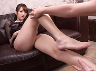 Glamorous Japanese sex doll Shion Utsunomiya looks simply awesome in her sexy black transparent blouse and lingerie.