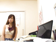 While in the school's doctor office, this curvy ass Japanese teen in sexy skirt begins feeling horny, and needs to play with the guy and feel his massive dick pumping her tiny pussy.