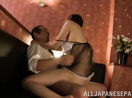 Hot Japanese milf in sexy lingerie, Kanako Iioka, provides excellent blowjob to this hot male during a passionate and very sensual Asian oral porn show.