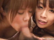 Sleazy Japanese hotties Saya Tachibana and friend are in great need to have sex and play with cock between their moist lips and this hot lad seems perfect for their craving desires.