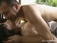 She enjoys pussy licking and gets her mouth crammed with his awesome dong, and then the massive guy nails the petite cutie with big throbbing dick from behind, giving her really deep fucking.