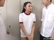 Awesomely curved An Tsujimoto threesome sex.