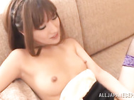 Naughty hot asian milf Kokone Mizutane likes to have this naughty guy licking her hairy pussy well before spreading her legs and letting him push his long dick deep into her wet vag.