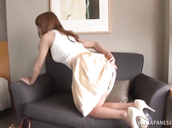 Hot Japanese goddess with amazing boobs and a curvy ass, Nami Aino, is close to a mind blowing fuck along this guy who looks more than willing to crack her tight vag with his hard dick.