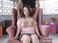 Amateur Japanese milf with really big natural tits, Uehara Hinano, loves to tease her guy by letting him play with her hard nipples, licking her big boobs and pinching them well during steamy shows of raw Asian porn.
