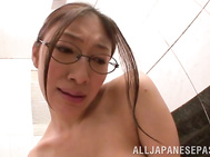 Gorgeous JP babe, Reiko Kobayakawa with big boobs and glasses is taking a bath as her lover comes in and starts to play with her big boobs and nice ass.