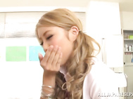 A hot sexy blonde Asian babe, Arisa Takimoto is rubbing her pussy on the examination table in the doctor's office.