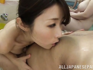 Watch this horny Japanese beauty while taking on a senior cock, throating it with lust and smacking it between her melons before enjoying a warm splash over her sensual lips in this hot public sex scene!.
