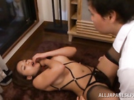 She gives a hot double blowjob and gets plowed from behind, taking hot cum in her mouth in this nasty Asian threesome!.