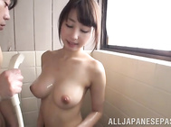 Chick with amazing big round tits Shunka Ayami is taking a bath with her horny sex partner.