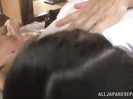 Big tit Japanese doll Mina Tamana receives two strong cocks to ravage her tight holes in a sexy and wild Japanese group fuck session.