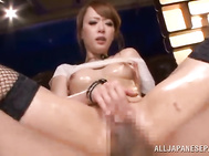 Two horny guys attack sexy juicy body of amazing Japanese hottie Azumi and oil her sappy body.