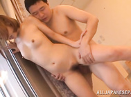 Alluring Japanese AV model Kokne Mizutani looks gorgeous having sex with her impressive lover.