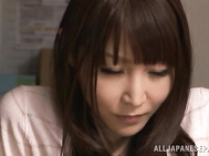Horny Japanese teacher Rei Aimi gets her shaved pussy treated by guys.