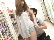 Horny teen couple fucks in the Asian supermarket.