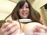 She reveals her amazing big bubbles, and her lover begins to lick them and to play with them, making his girlfriend hot, and then he gives her some pussy fingering.