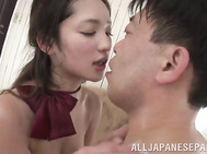 Pretty Japanese schoolgirl Erika Momotani gets sexual experience with her boyfriend.