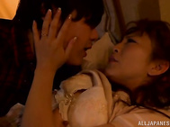 Naughty Japanese housewife Ryo Hitomi gets really horny after letting this guy tease her the whole night and finally, sweet Asian mature opens her legs for this huge dick to slide in her warm vag, fucking her in hardcore doggy style, ending with cum on he