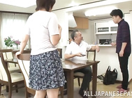 Hot mature JP babe, Nozomi Sasayama gives a tit fuck and her hubby watches.