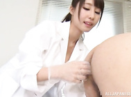 Appealing Japanese nurse Shunka Ayami feels excited and horny, needing to play with this guy by smacking his dick in proper handjob scenes as well as fingering him in the ass.