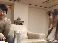 Lovely hottie Maya Kawamura has sex with a horny guy at a party.